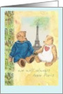 For spouse,Paris Anniversary,pair of cuddly teddy bears card