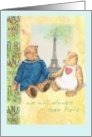 French Anniversary,pair of cuddly teddy bears card