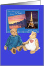 from Paris with Love,pair of cuddly teddy bears card