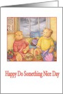 Do Something Nice Day cozy sewing teddy bears, teatime card