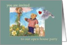 Open House Party invitation, illustrated teddy bear & pets card
