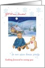 Winter open house custom text invitation, teddy bear & cozy cottage card