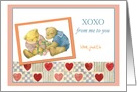 XOXO custom text valentine, hearts & bear card