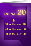 You are 20 on an abstracted purple background card