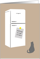 Dieting, Weight Congratulations Card - Cat, Note on Fridge card