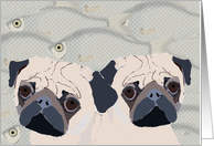 Birthday Card - Sending Pugs and Fishes (Hugs and Kisses) card