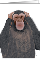 Chimpanzee, Hear no Evil, Get Well Soon, Feel Better Card