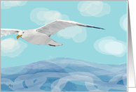 Seagull Flying Over the Sea - Card for a Hospice Patient, End of Life card