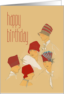 Ladies in Red Hats, Red Hat Ladies Vintage Retro Birthday Card