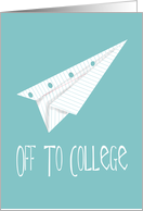 Off to College Party Invitation, Paper Airplane card