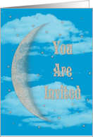 Eid Party Invitation with Crescent Moon and Stars card