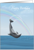 Happy birthday with dolphin leaping for joy and a rainbow card