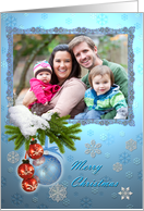 Christmas photo card framed on blue background card