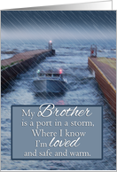 For Brother Fishing Boat Coming Into Port from Storm Father's Day card