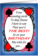 Bridge Player or Partner Funny Birthday Card