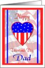 Valentine for Military Dad, Patriotic Heart Card