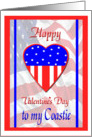 Military Valentine for Coastie, Patriotic Heart Card