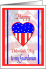 Military Valentine for Guardsman, Patriotic Heart Card