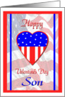 Valentine for Military Son, Patriotic Heart Card