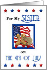 Sister 4th of July - Combat Boots, Helmet & American Flag card