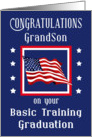 Grandson, Congratulations Basic Training Graduation - Flag & Stars card