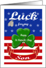 Luck for My Son, St. Patrick's Day - Shamrock & Dog Tags card
