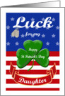 Luck for My Daughter, St. Patrick's Day - Shamrock & Dog Tags card