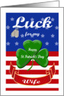 Luck for My Wife, St. Patrick's Day - Shamrock & Dog Tags card