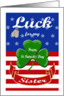 Luck for My Sister, St. Patrick's Day - Shamrock & Dog Tags card