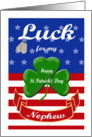 Luck for My Nephew, St. Patrick's Day - Shamrock & Dog Tags card