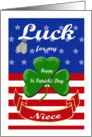 Luck for My Niece, St. Patrick's Day - Shamrock & Dog Tags card