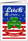 Luck for My Cousin, St. Patrick's Day - Shamrock & Dog Tags card