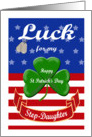 Luck for My Step-Daughter, St. Patrick's Day - Shamrock & Dog Tags card