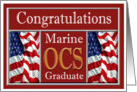 Military Marine OCS Graduation - American Flags card