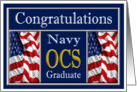 Military Navy OCS Graduation - American Flags card