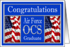 Military Air Force OCS Graduation - American Flags card