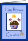 Military Birthday for U.S. Coastie - Cupcake, Flags, Dog Tags card
