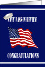 Military Navy Pass-In-Review Congratulations - Flag & Sailor Hat card