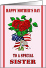 Mother's Day for Military Sister - Roses, Dog Tags card