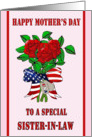 Mother's Day for Military Sister-in-law - Roses, Dog Tags card