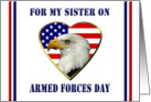 Sister on Armed Forces Day - Patriotic Flag Heart & Eagle card