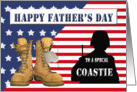 Father's Day for Coast Guard - Flag, Combat Boots, Silhouette card