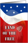 Land of The Free Military Thank You - Patriotic, Eagle with Dog Tags card