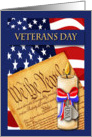 Patriotic Veterans Day - American Flag, Constitution & Candle card