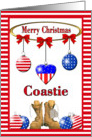 Christmas for US Coastie - Ornaments & Combat Boots card
