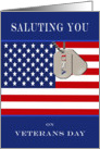 Veterans Day - Saluting You - American Flag & Dog Tags card