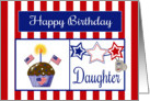 Military Daughter Birthday Card - Cupcake, Flag, Stars, Dog Tags card