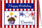 Military Coastie Birthday Card - Cupcake, Flag, Stars, Dog Tags card
