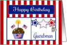 Military Guardsman Birthday Card - Cupcake, Flag, Stars, Dog Tags card