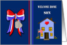 Welcome Home Military Son - Patriotic Ribbon, House, Dog Tags card